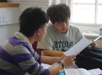 Students practising spoken English